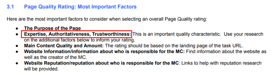 Page Quality Rating Factors - E A T