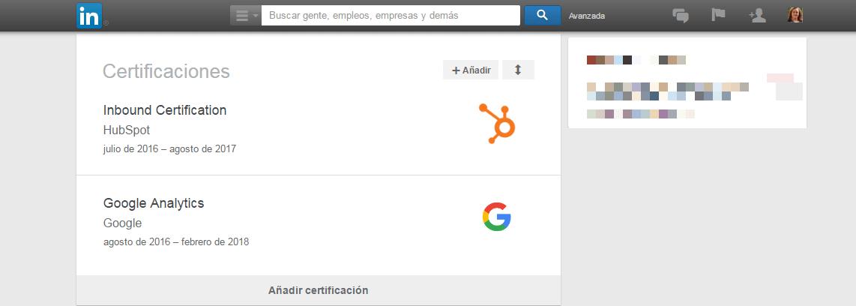 Certificaciones online en el perfil de LikedIn