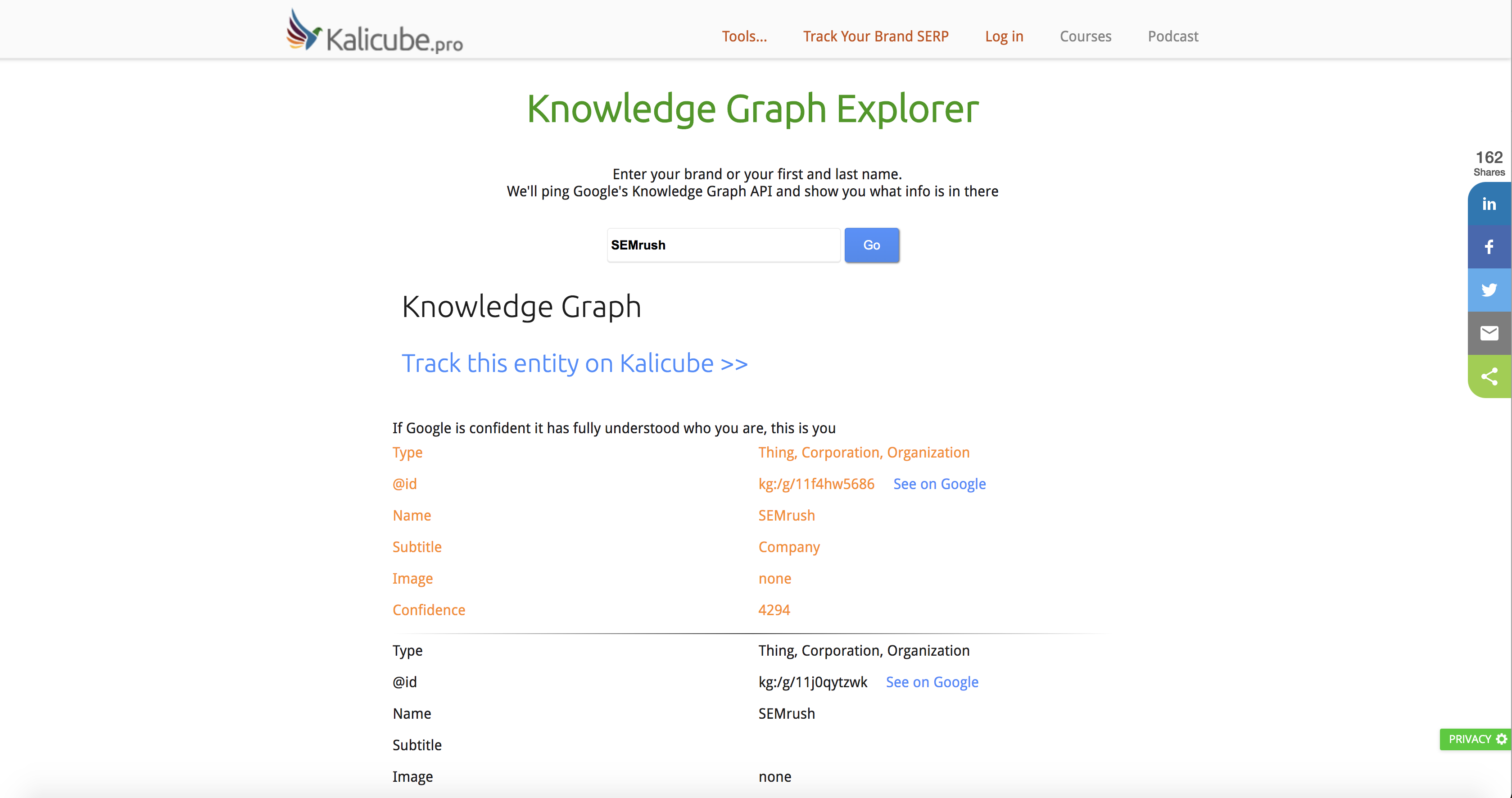 Kalicube knowledge graph tool