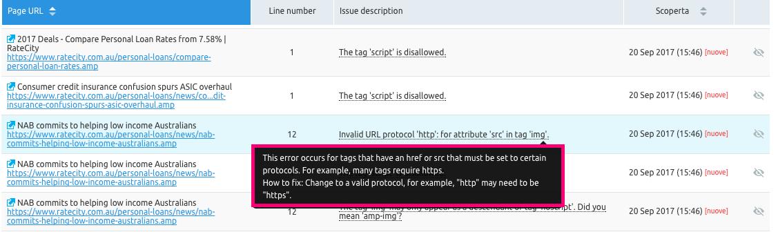 Risoluzione errore di codifica AMP per pagine mobile
