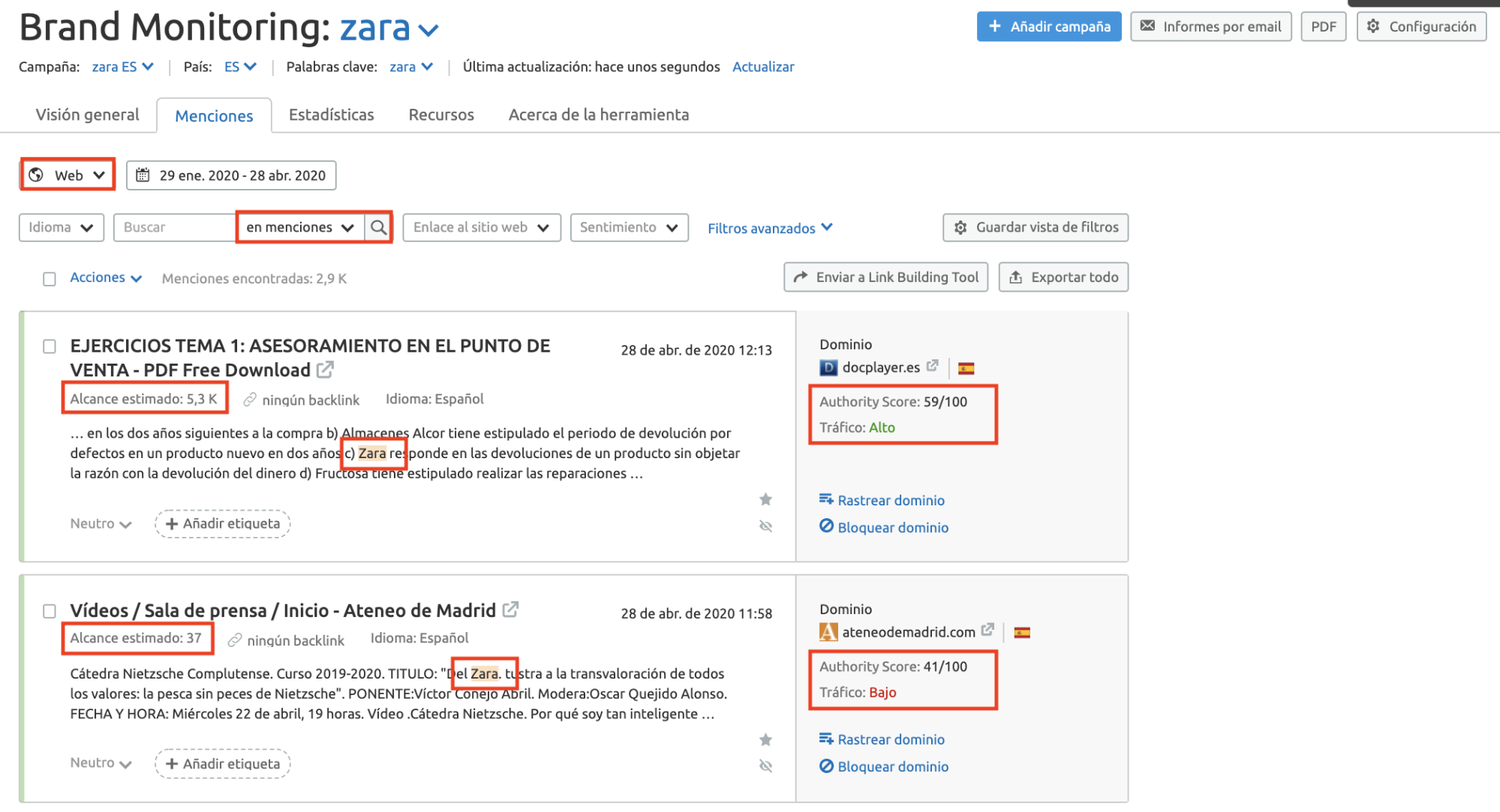 Estudio de la competencia - Brand monitoring Zara
