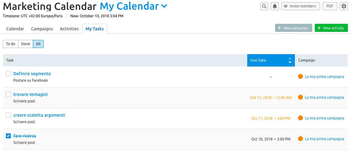 Marketing calendar tool: i tuoi compiti