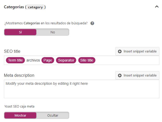Wordpress SEO checklist - Taxonomías