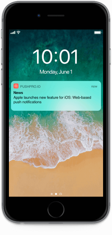 Push notification example on mobile