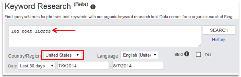 Bing Keyword Research Results