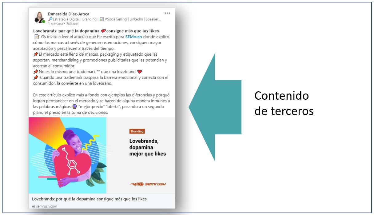 Estrategia de contenidos en LinkedIn - Publicar contenidos de terceros