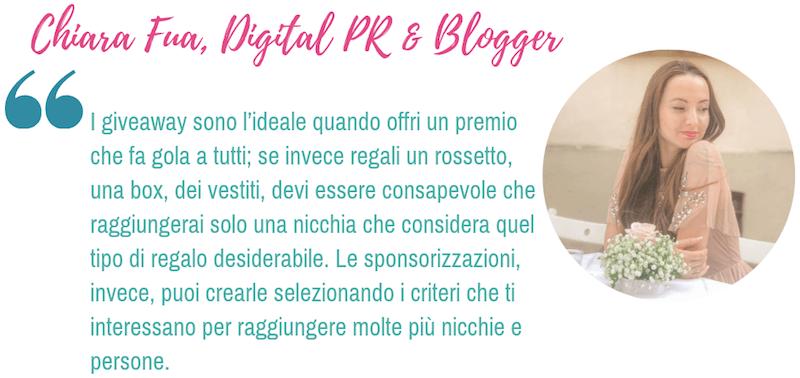 L'opinione di Chiara Fua, blogger e instagrammer, sull'efficacia dei giveaway