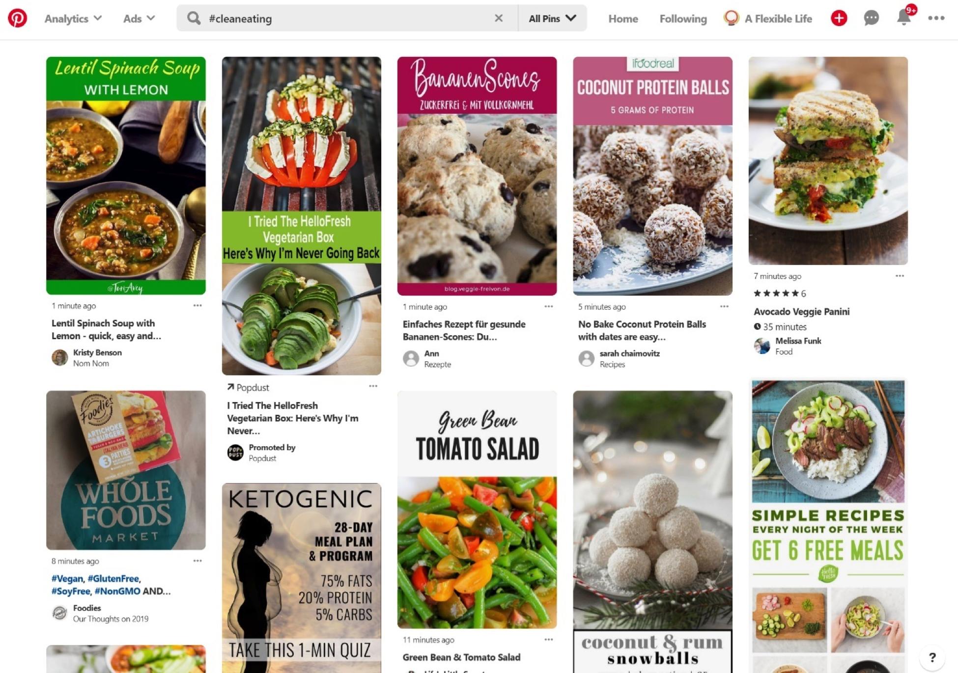 Cómo usar Pinterest - Interfaz de búsqueda