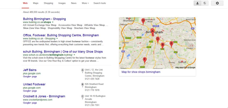 Shoe shops Birmingham-serps