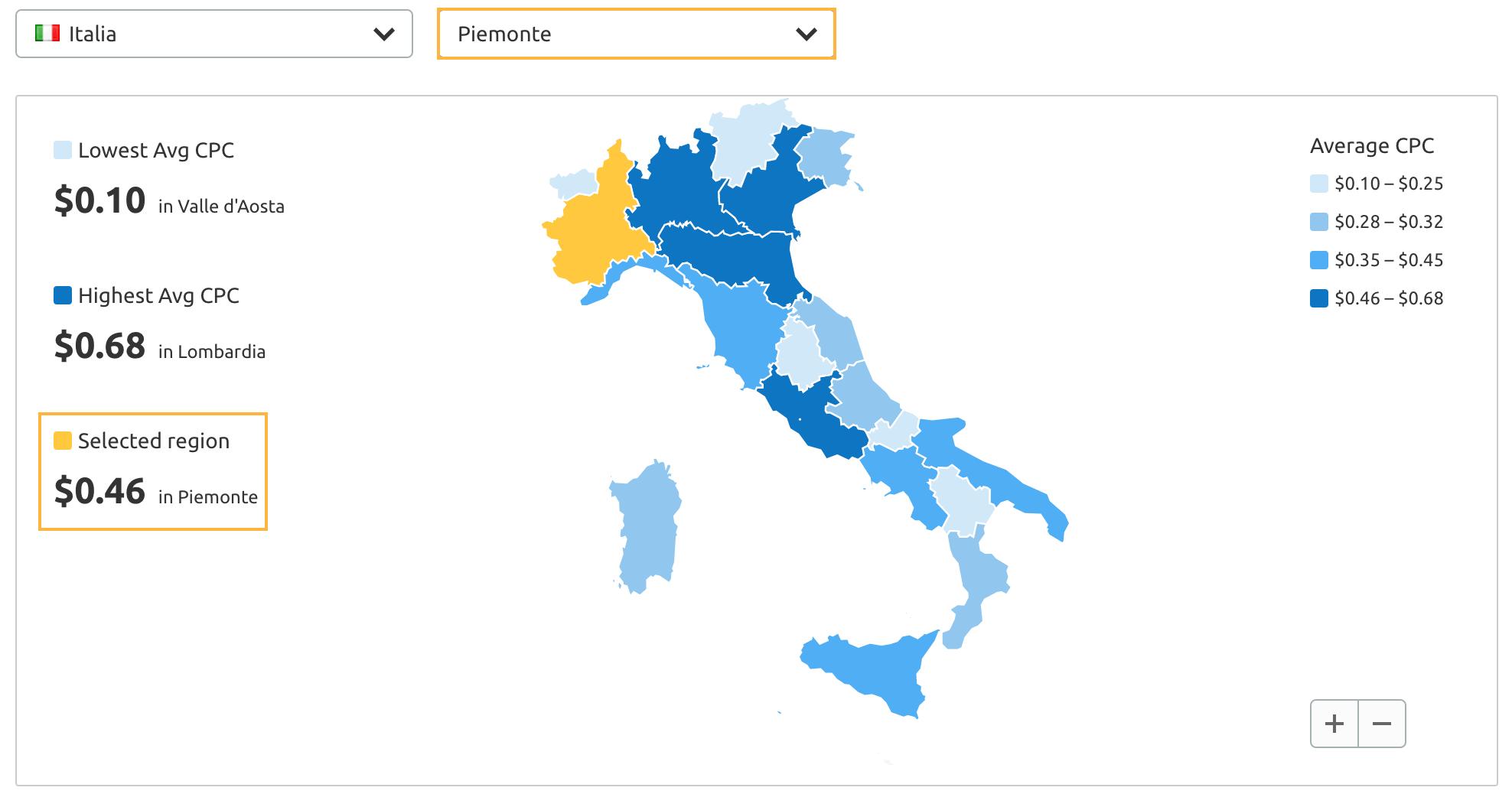 Cpc map di SEMrush: scopri il cpc per settore e per regione in un Paese