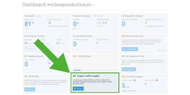Conecta Analytics & Google search console & SEMrush - Organic traffic insights