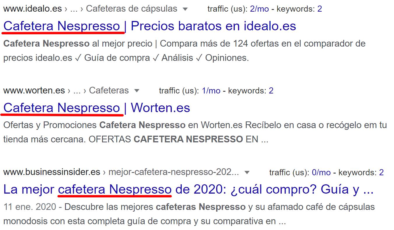 SEO copywriting - Meta title Nespresso