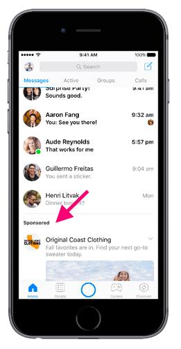 Come appaiono le inserzioni dall'app Messenger Facebook