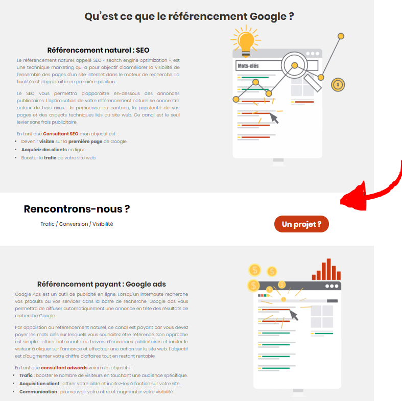 Call to action milieu de page