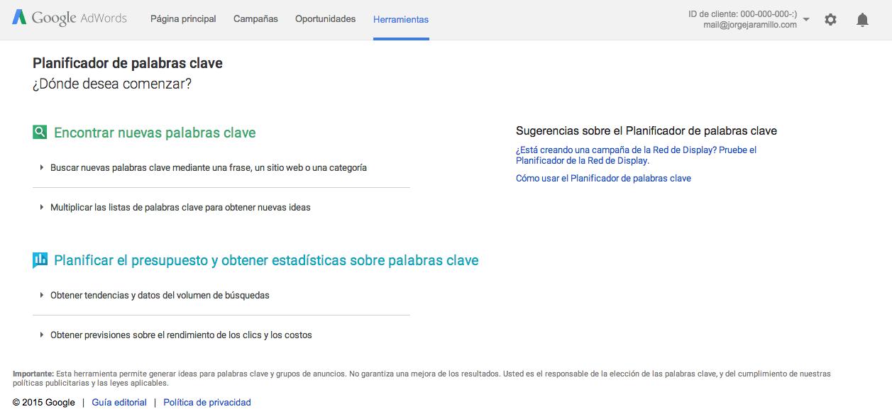 Google Keyword Planne