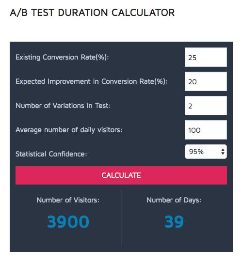 Convert - A/B test duration calculator
