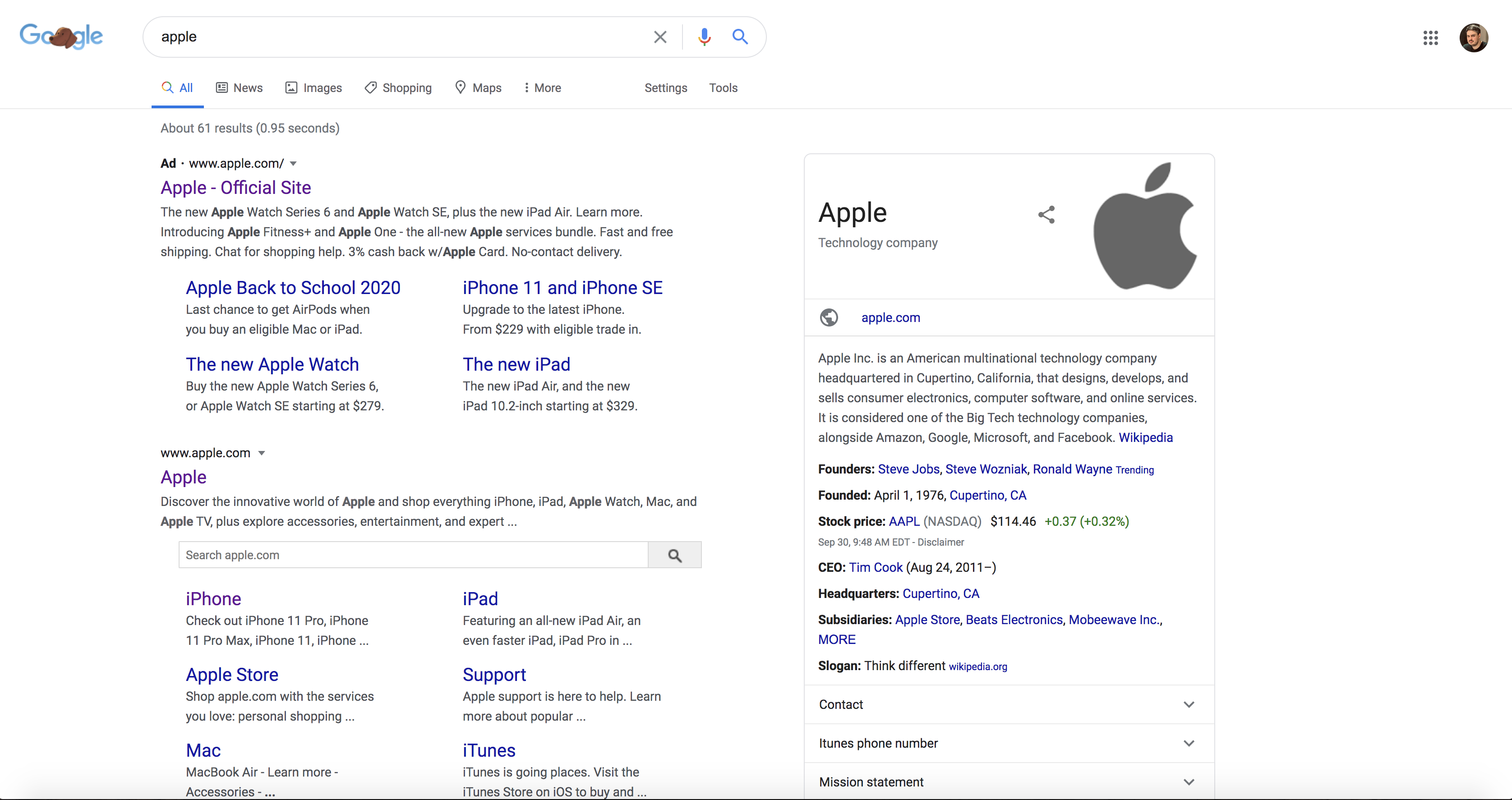 Apple brand knowledge panel screenshot