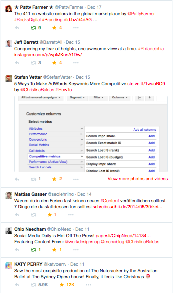 Twitter Timeline With Attached Image
