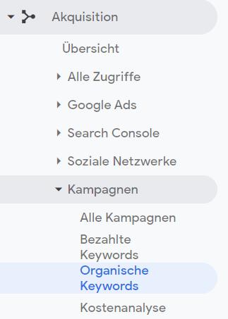 Menü Google Analytics: Organische Keywords