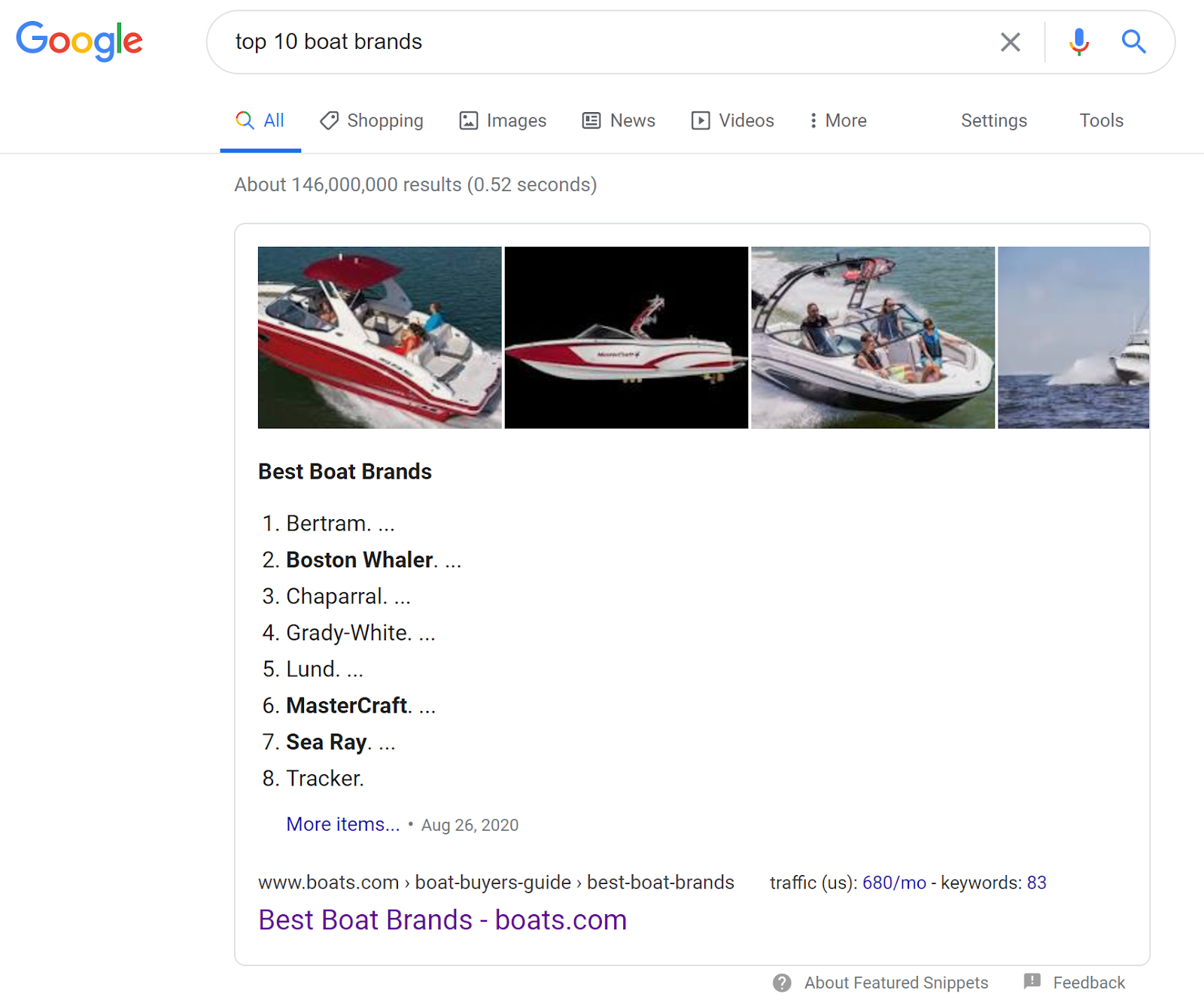 Best Boat Brands Featured Snippet screenshot