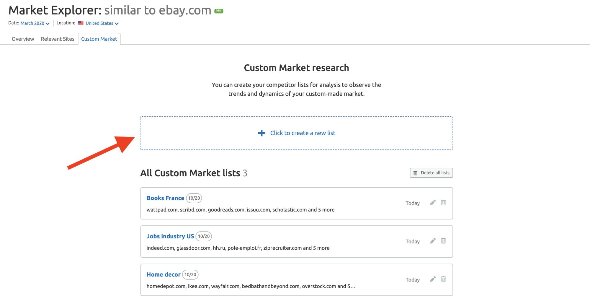 Novedades de SEMrush - Abril 2020 - Custom market