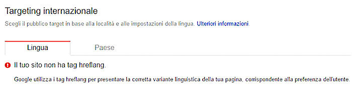 Search Console: report Targeting internazionale