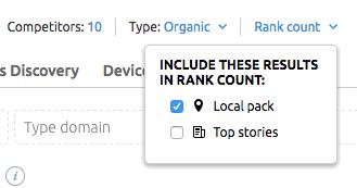 Includi/escludi Local pack e Top stories dalla classifica di SERP feature