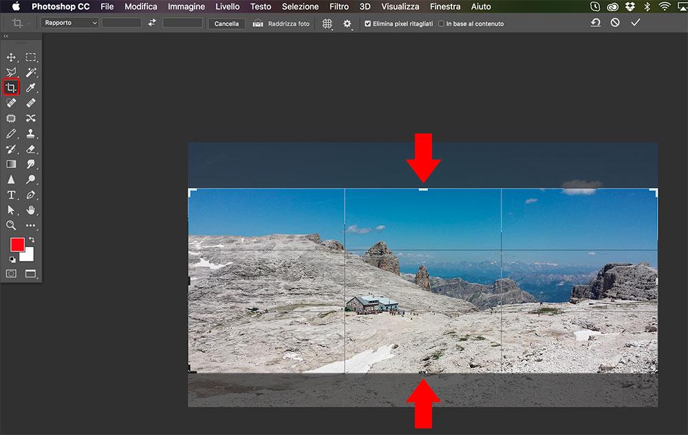 Foto ottimizzate per il web: Photoshop - ritaglia immagine