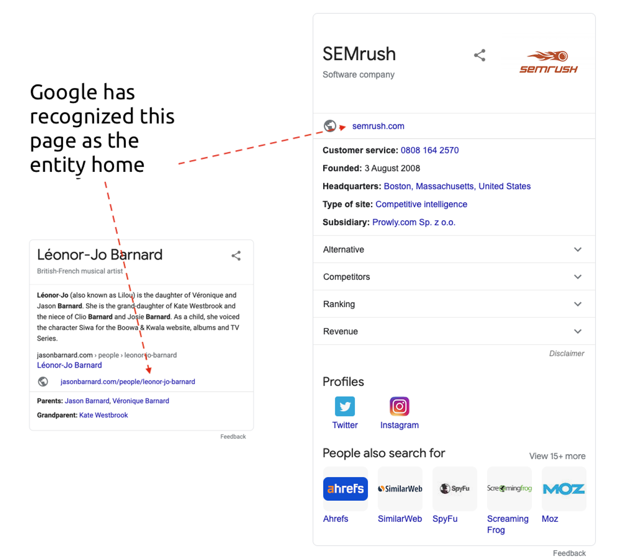 google recognizing information for knowledge panel