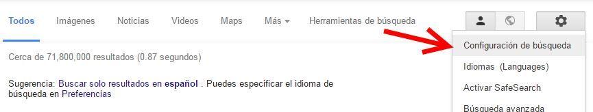 Configuración de búsqueda en Google