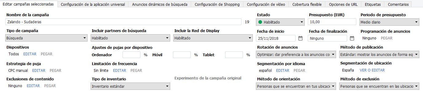 Configuraciones a nivel de campaña en Google Ads