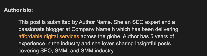 Screenshot: Author Bio