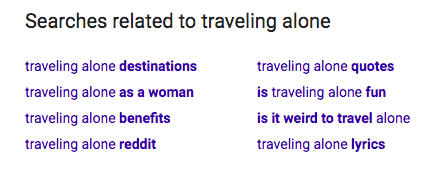 """Searches related to """"traveling alone""""."""