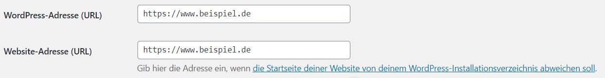 Domain festlegen in Wordpress