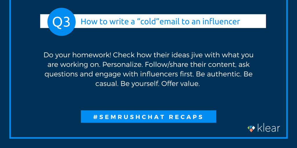 SEMrush chat - Influence marketing Q3