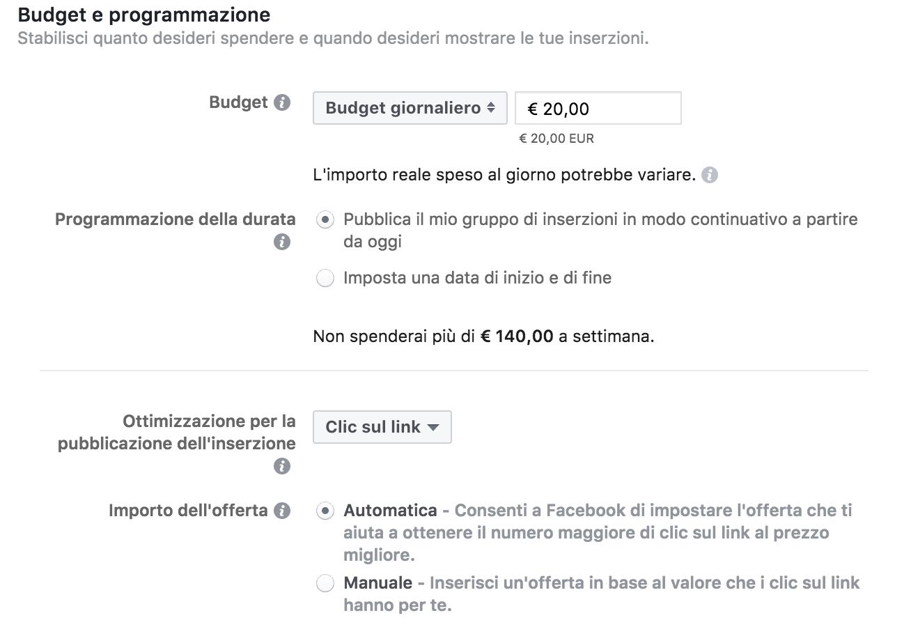 Budget e Programmazione ads su Instagram