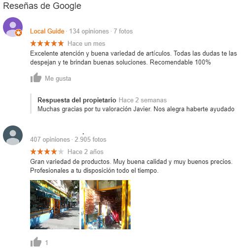Reseñas en Google My Business - Ejemplos de reseñas
