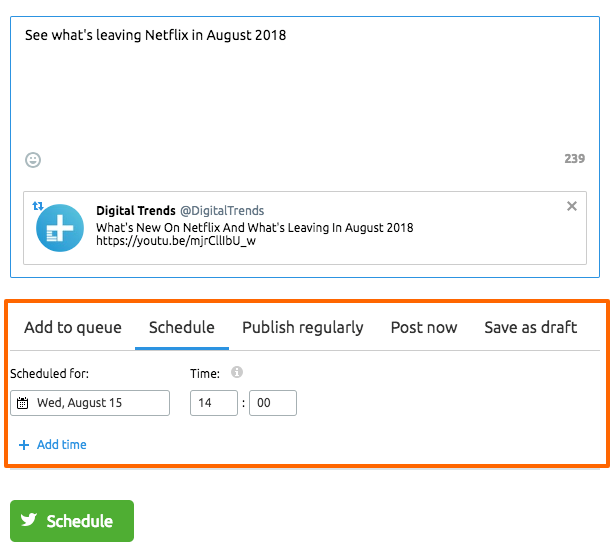 semrush retweet scheduler