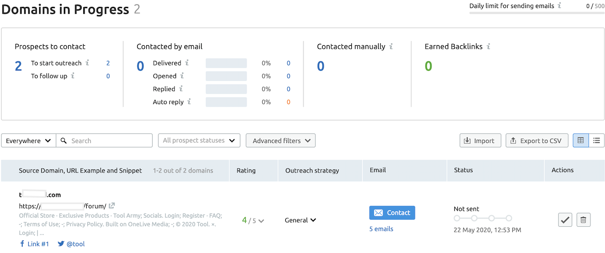 SEMrush link building tool data with emails