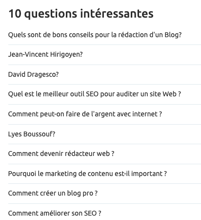 questions associés Topic Research