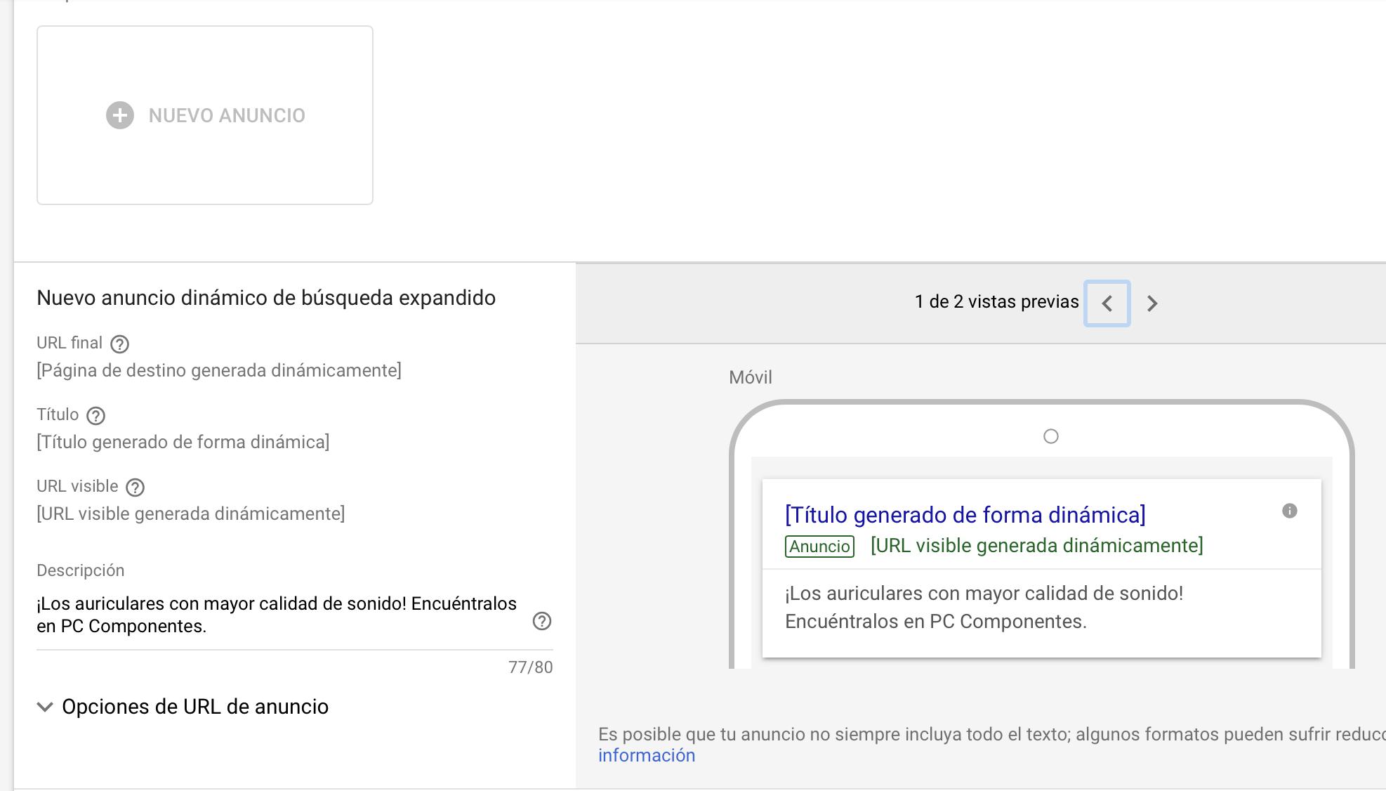 Ejemplo de anuncios dinámicos de búsqueda