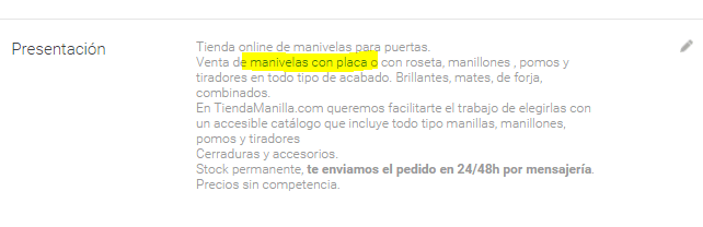 Google My Business Descripción de enlace