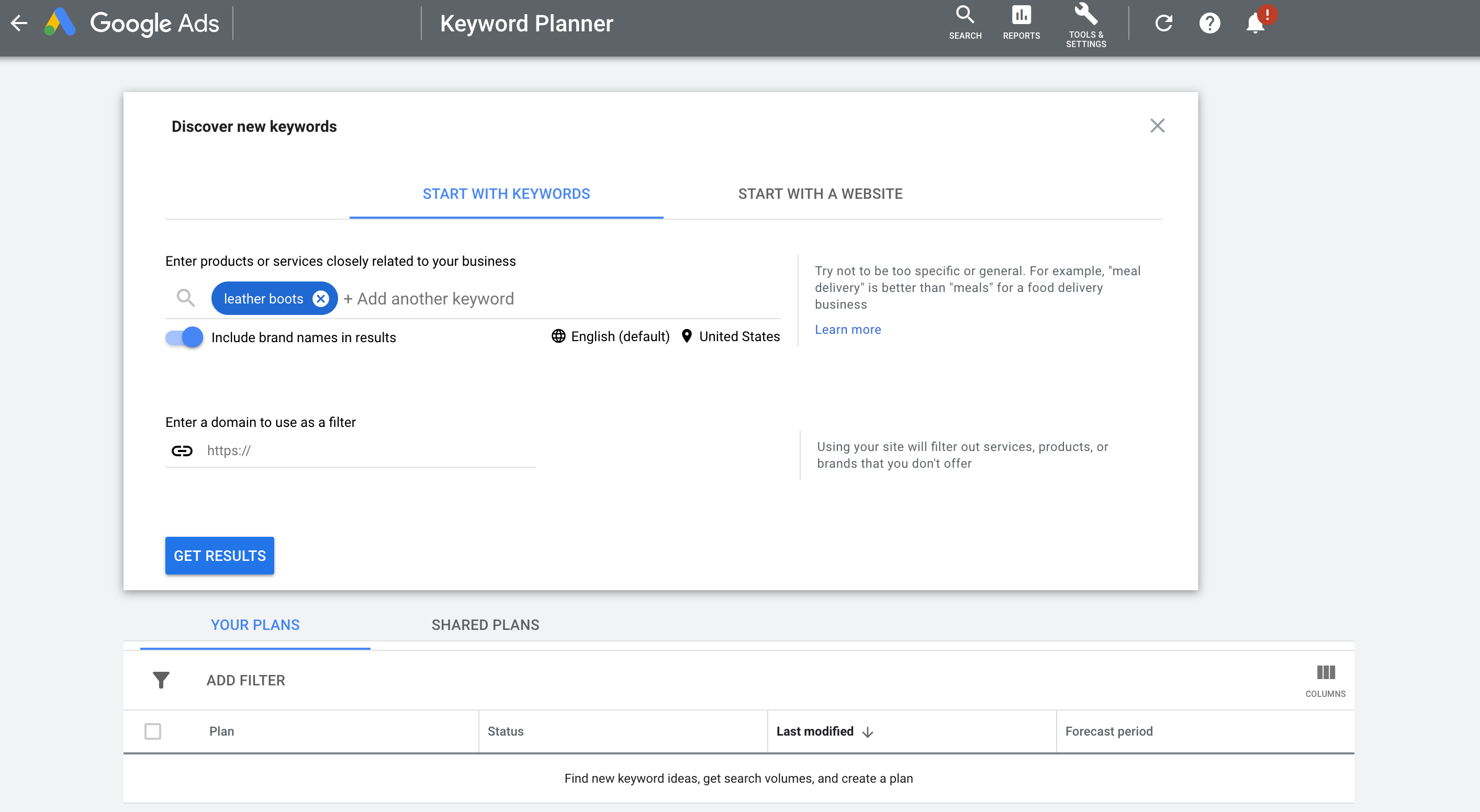 Discover new keywords section of Google Ad Planner