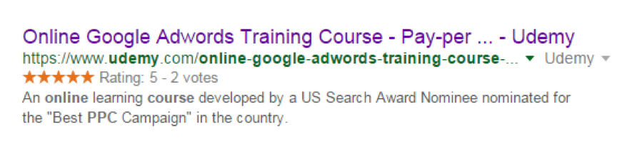 Udemy Course in SERPs