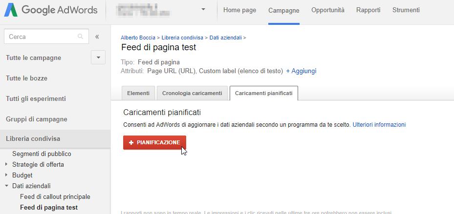 Come impostare l'aggiornamento automatico del feed su Google Adwords