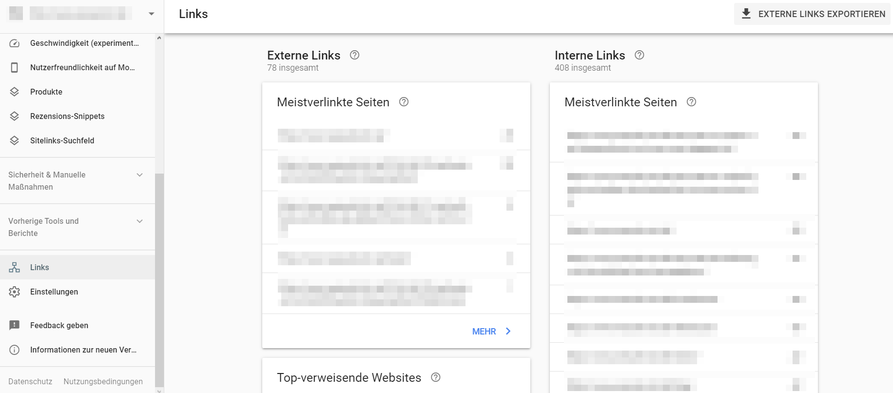 Links in der Google Search Console