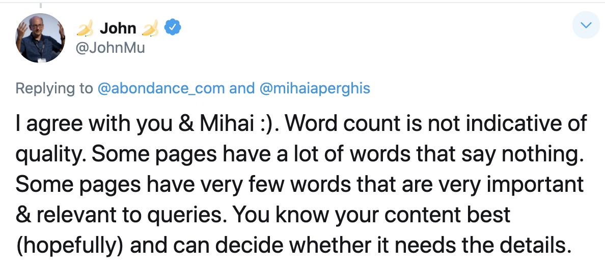 Google's John Mu tweet on content