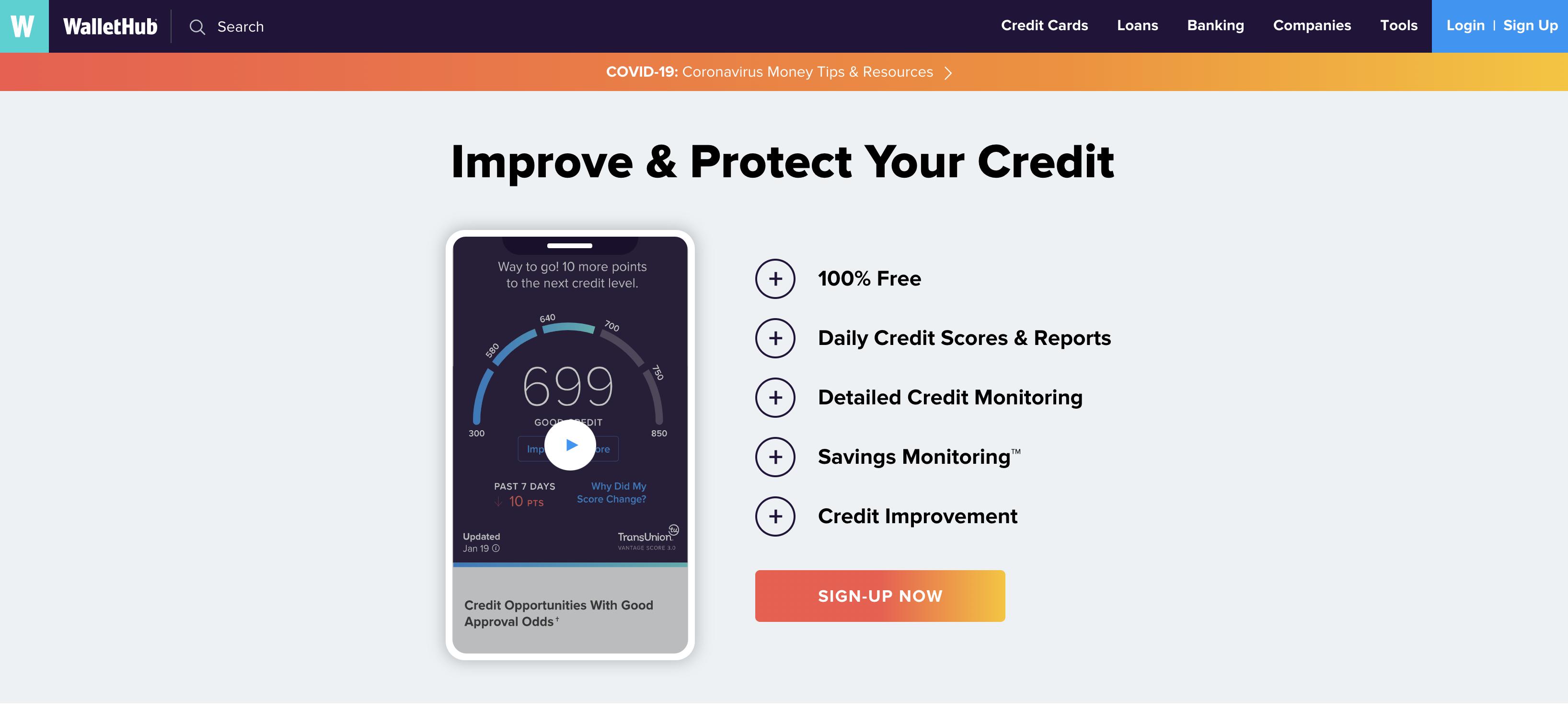 WalletHub homepage screenshot