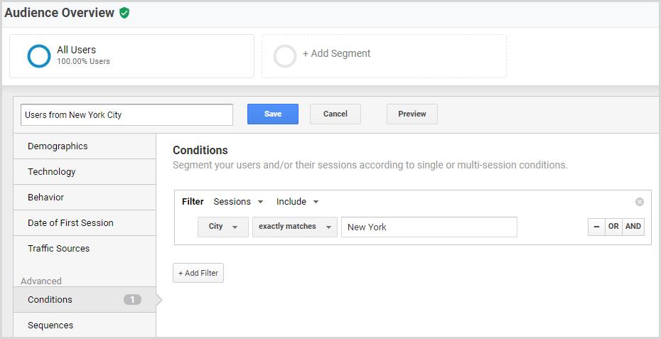 Building Google Analytics City Segment