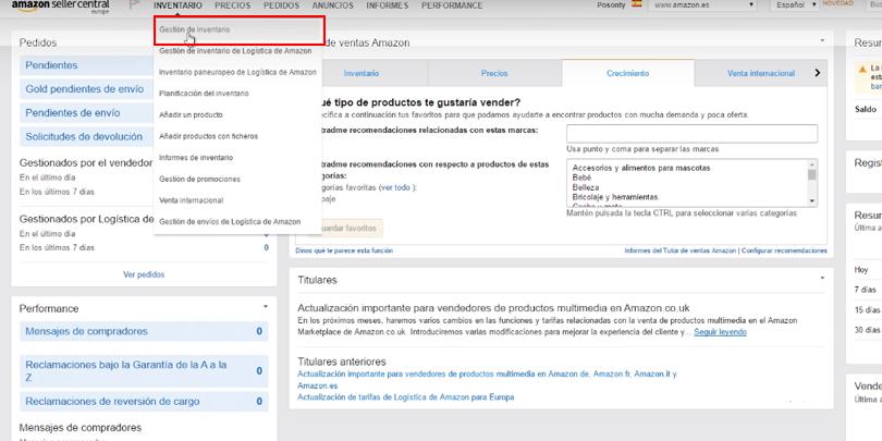 Publicidad en Amazon - Gestión de inventario